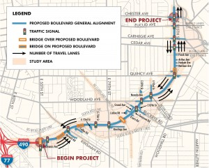 Map of the proposed Opportunity Corridor